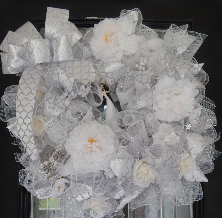 Wedding Wreath- Bridal Shower Wreath- Wedding Decoration- Bridal Shower Decoration- White Wedding by OccasionsBoutique on Etsy
