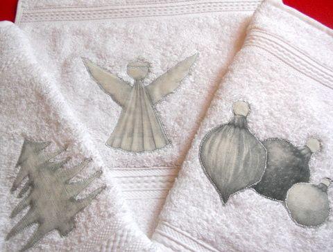 piccoli asciugamani da bagno con applicazioni shabby mia creazione tinu
