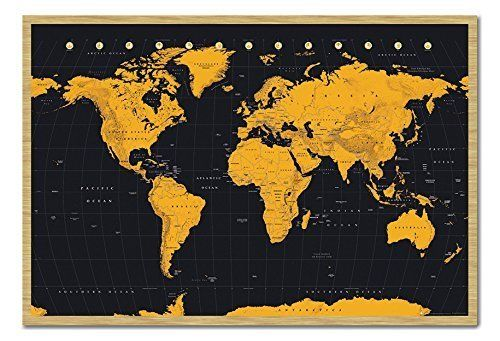 World Map In Black & Gold Poster Cork Pin Memo Board Beec…
