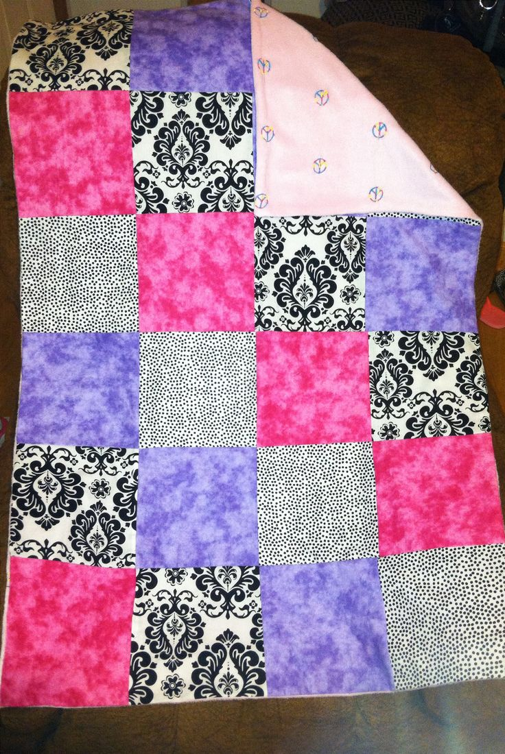 "Easy to make quilt! Great for beginners! 8""x8"" squares with fleece backing. No batting needed since the fleece makes it thick and warm! Once all the squares are sewn together and you put on the fleece just quilt along the lines of the squares so you won't see the stitching! Makes a wonderful baby blanket!"