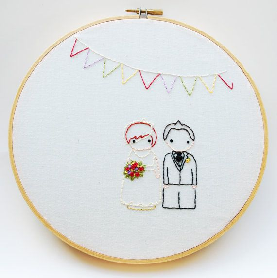 The Peg Doll Wedding Personalized Wedding Embroidery by mamadothat, $10.00