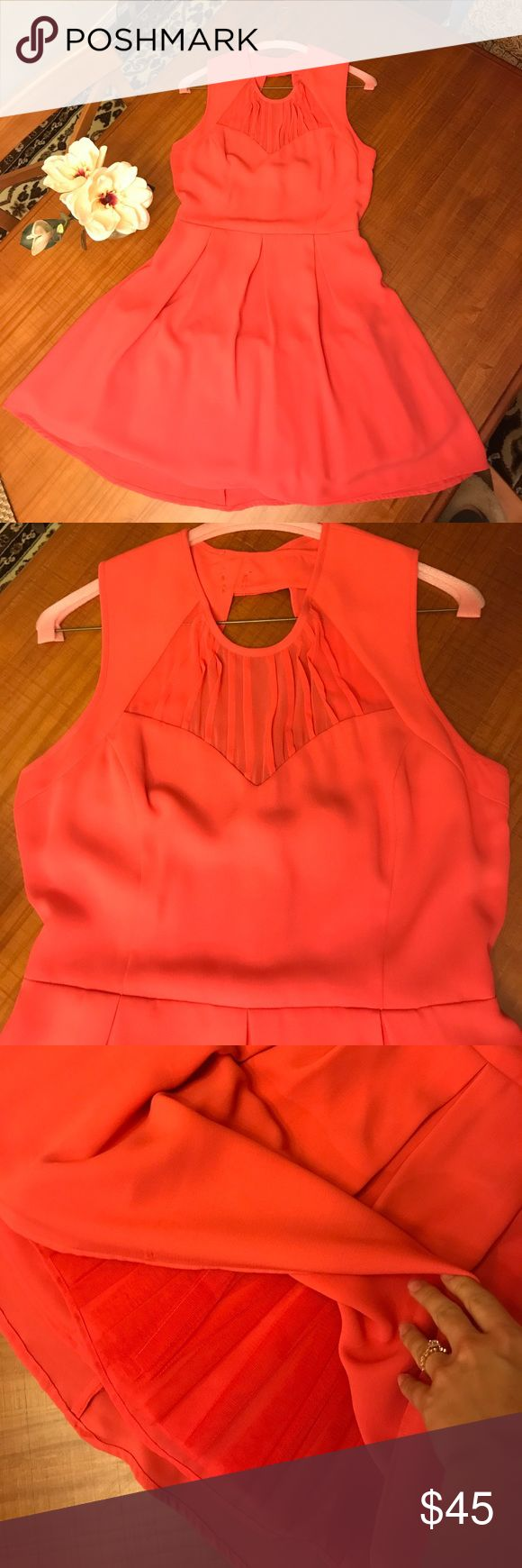 Coral bridesmaid dress Coral bridesmaid's dress. Sheer panel on chest and tulle under skirt for volume. Great condition. Tag says size 12 but was altered to fit a size medium. Oasis Dresses