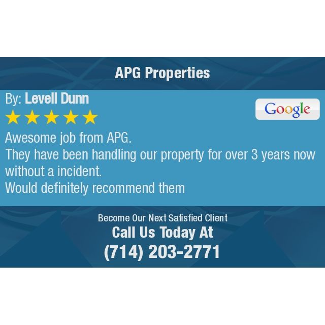 Awesome Job From Apg They Have Been Handling Our Property For