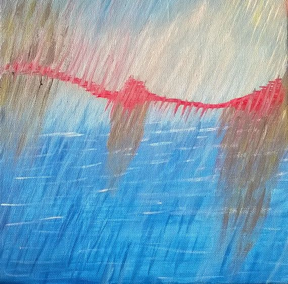 Abstract Landscape Acrylic Painting Art by Sylchra, available on her Etsyshop ArtPaintingsAndDecor
