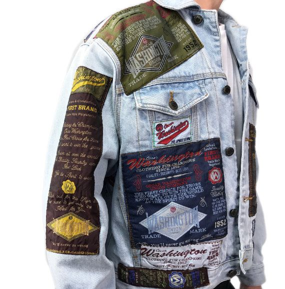 vintage denim jacket by FLASHLIGHT BASIC with allover WASHINGTON patches, 2 side pockets and 2 breast pockets.  size 46  length (from neck to lower end): about 61 cm width (from armpit to armpit): about 57 cm arm length (from collar to the end of arm): about 76 cm   100% cotton