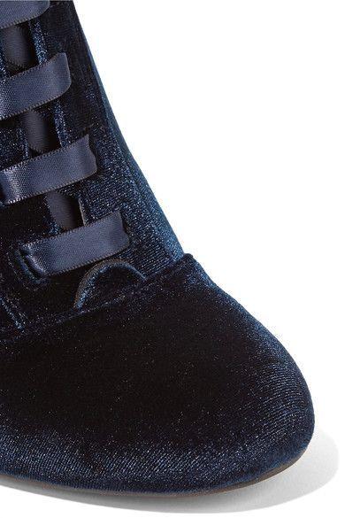 Sam Edelman - Clementine Lace-up Velvet Ankle Boots - Storm blue