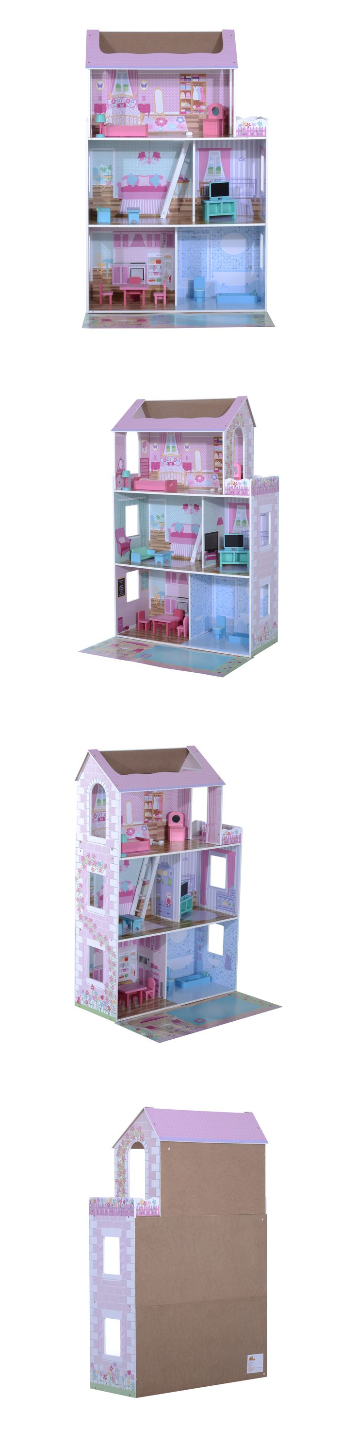 Wooden and Handcrafted Toys 1197: Wooden Toy Dollhouse Barbie Dreamhouse Doll House Cottage With Furniture -> BUY IT NOW ONLY: $54.99 on eBay!