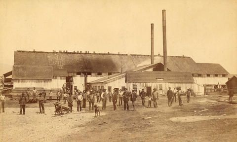 [Employees standing in front of the Hastings Sawmill building] - City of Vancouver Archives