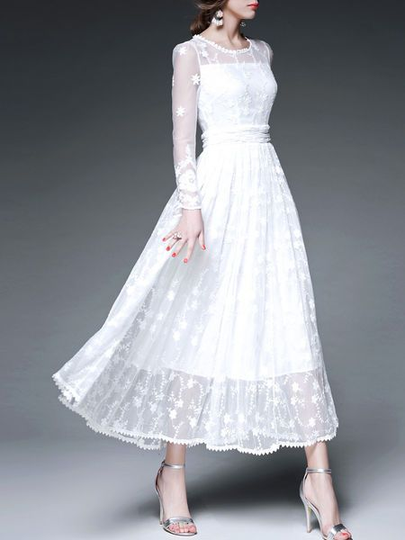 White Floral Crew Neck Long sleeve A-line Evening Embroidery Mesh Paneled Maxi Dress
