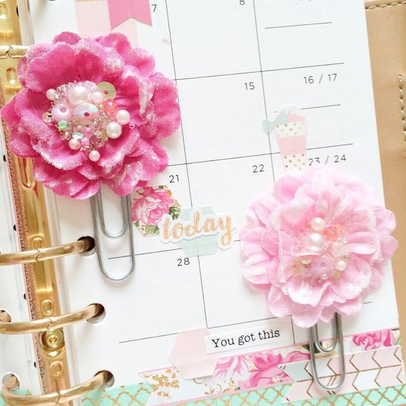 Valentines day Planner clip, planner accessories, planner, page markers, Pink flower paperclips