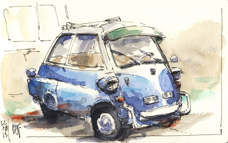 Sketched at a vintage car meeting in Brussum, the Netherlands. Tiny and very…