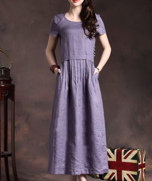 Crinkle Waist Side Button Linen Dress