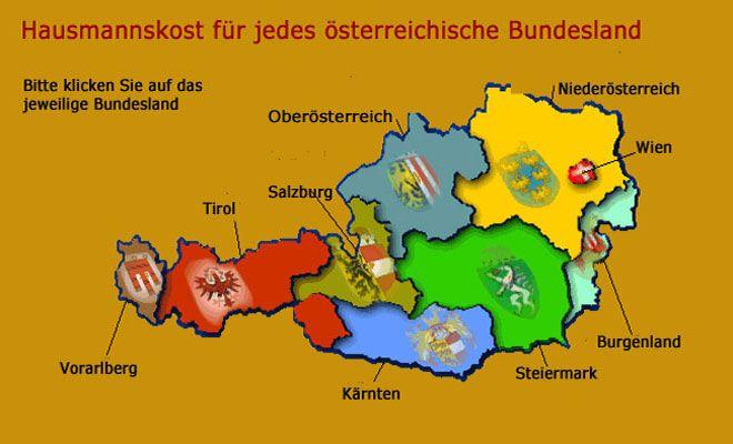 Österreich. Hausmannskost für jedes österreichische Bundesland.