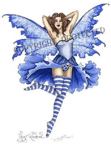 "Amy Brown Print Frisky Francine Blue White Wings Fairy Faery 8.5"" x 11"" Fantasy"