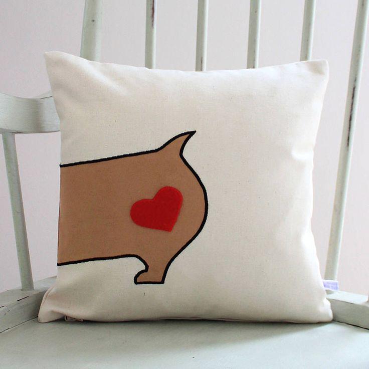 Appliqued Corgi Cushion Cover