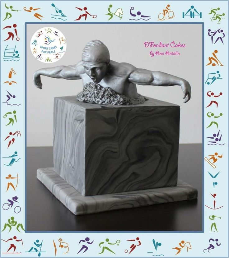 Swimmer sculpture by DFondant Cakes