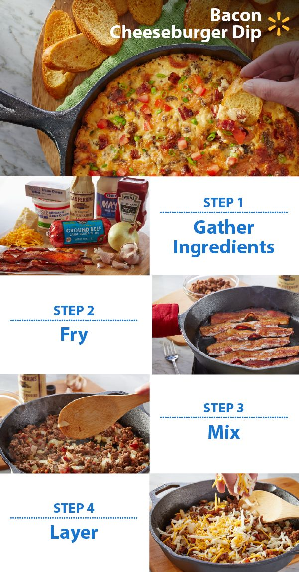 It's not a party without the dip! Football fans are sure to love this easy, cheesy snack. Bring on the bacon! Add beef, sour cream and cheese and you have a crowd-pleasing appetizer. Check out more Walmart Game Time recipes & tips.   Post a photo of your Game Time snack fave on Twitter or Instagram w/ #walmartMVPcontest. You could win a trip to YouTube Space L.A. to help film a video! NO PURCHASE NECESSARY. Enter Contest by: 12/14/15 at 11:59 p.m. CT. For Official Rules, visit…