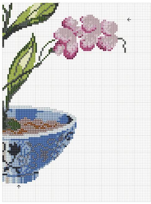 Orquídeas en punto de cruz con esquemas | En Punto de cruz