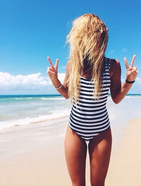 striped one-piece swimsuit.