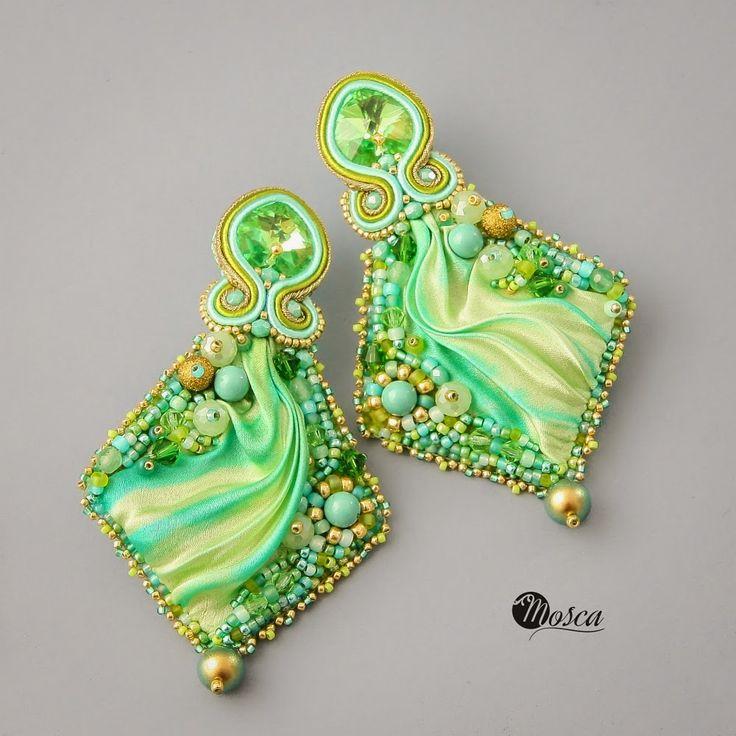 Maite - bead embroidered earrings with shibori silk ribbon.