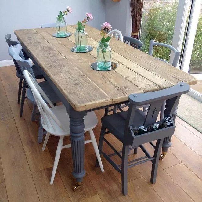 40 Cool Farmhouse Esszimmer Dekorideen Allte Tiny Haus Familie Idee Esszimmertisch Esstisch Stuhle Rustikale Kuchentische