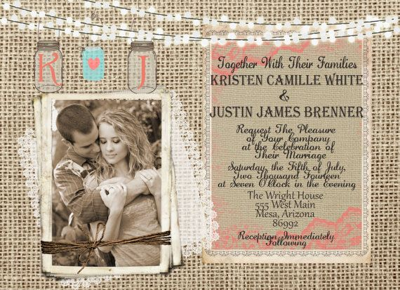 Burlap and Lace, Coral and Mint  Wedding Invitation, Mason Jar, Rustic, Photo Invitation, Digital File, Printable, 5x7 on Etsy, $16.94 AUD