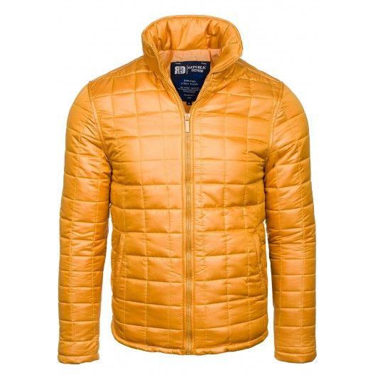 Pánská zimní bunda bez kapuce žluté barvy - manozo.cz