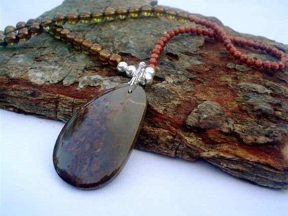 Fusion Necklace in glass and stone Custom by LaughingMoonCreation, $60.00