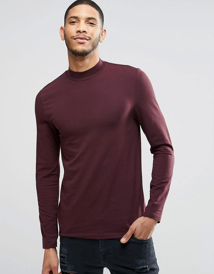 Long Sleeve T-Shirt With Turtle Neck In Oxblood $24.69