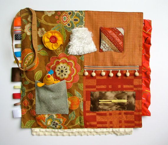 Orange and brown activity blanket for Alzheimer's/dementia by TheFidgitShoppe, $70.00