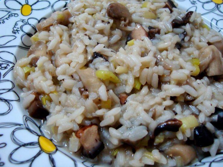 Risotto de Cogumelos e Alho Francês