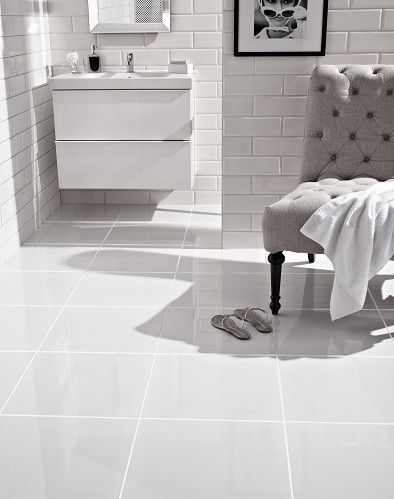 Pure White Large format highly polished effect porcelain tile Topps Tiles £71.28 price/m2