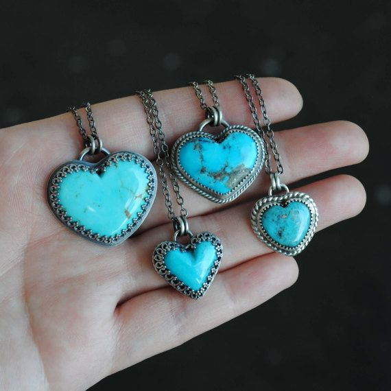 Kingman Turquoise Heart Necklace  Sterling by SongYeeDesigns