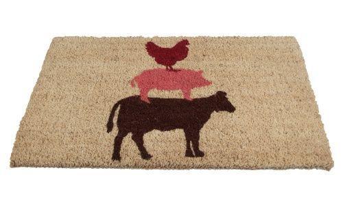 TAG Stacked Farm Animals Coir Door Mat - Chicken, pig, and cow make this TAG Stacked Farm Animals Coir Door Mat a fun way to bid guests welcome. This door mat is suitable for indoor...