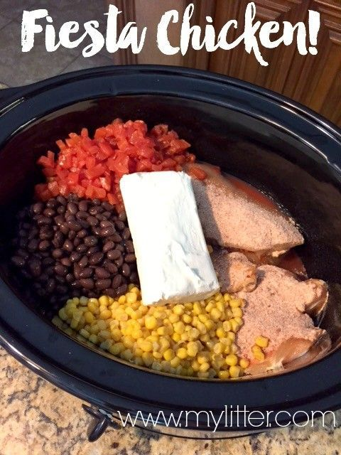 This  Fiesta Chicken crock pot recipe is a simple, easy, and delicious dinner your family is sure to love!