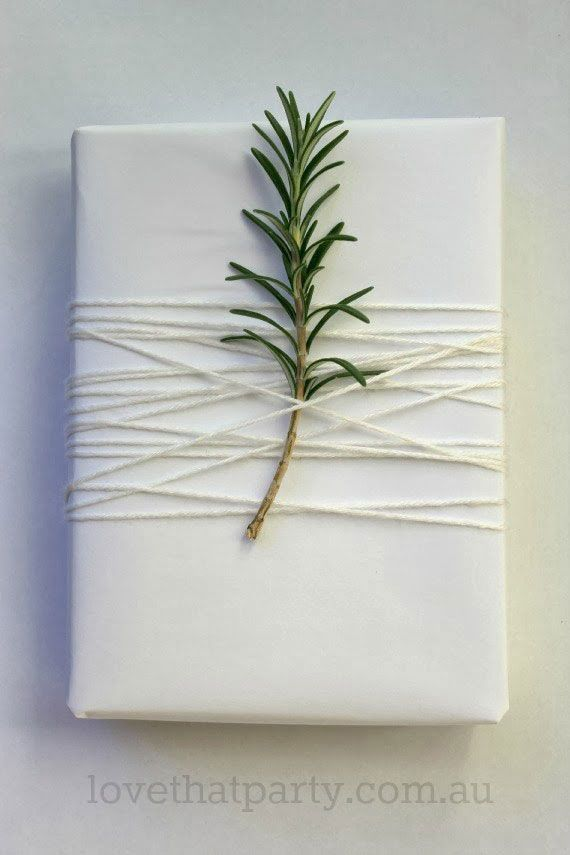 Add a sprig of pine to a Christmas gift. Such a great idea! Could also try it with mistletoe.:
