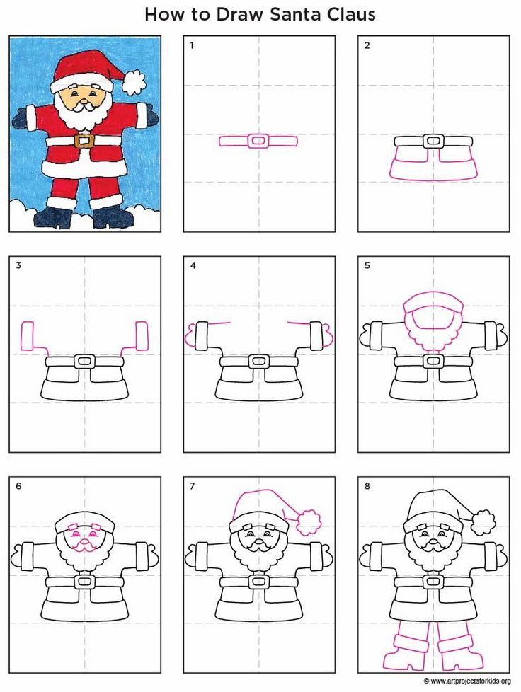 how to draw Santa diagram