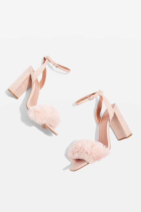 Nude sandals with faux fur strap detailing.