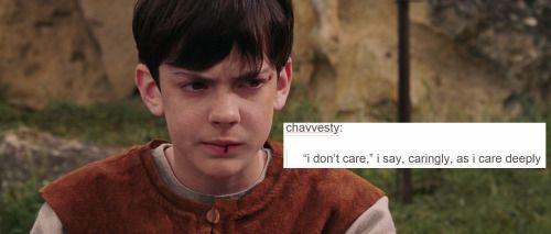 """""""I don't care,"""" I say, caringly, as I care deeply."""
