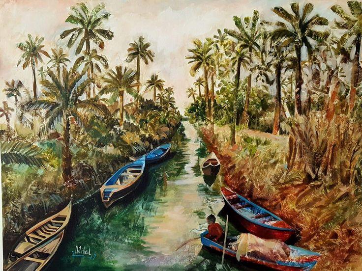 من اعمالي ابو الخصيب طبيعة عراقية اكرلك على الكانفاس ٦٠ ×٨٠  My painting