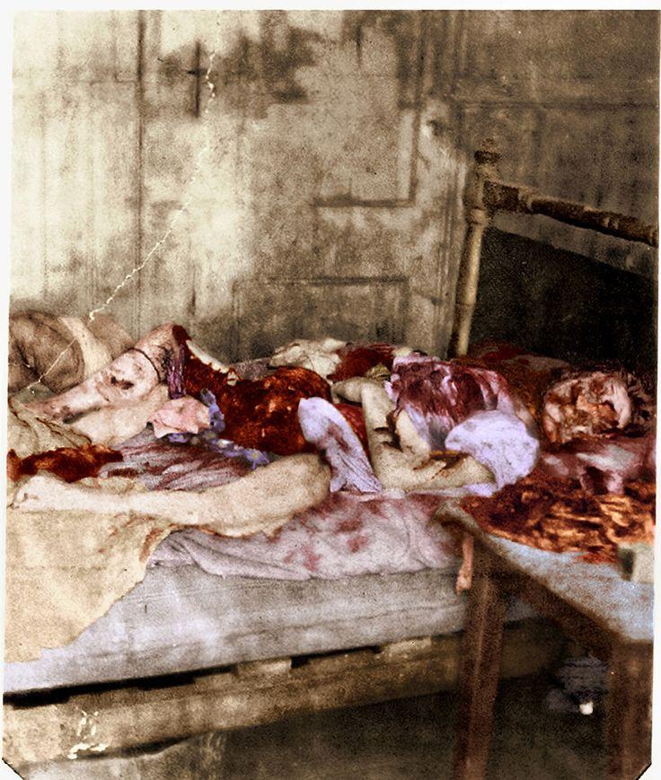 Londres, otoño de 1888. Restos de Mary Jane Kelly, última de las víctimas conocidas del asesino serial Jack el Destripador. Foto coloreada.