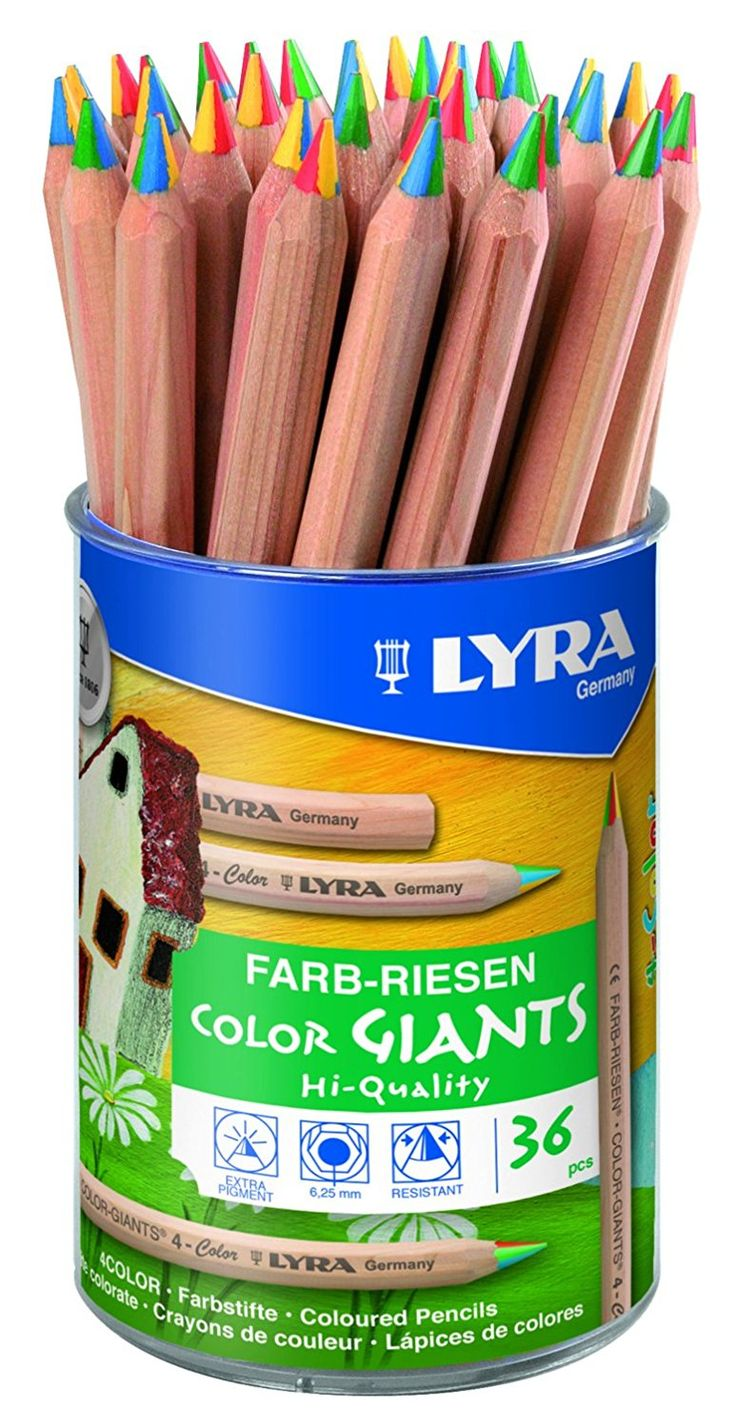 Lyra Color Giants Natural Colouring Pencils, Assorted Unpainted 36 4-Color-Stifte: Amazon.co.uk: Kitchen & Home