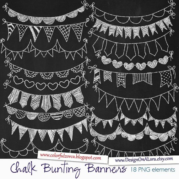 Chalk Bunting Banners, Chalk Banners Clip Art, Digital Banners, Hand Drawn Banners, Chalk ribbons, Banner ribbon garland, Chalkboard Bunting