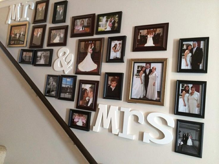 Wedding picture collage up the stairs
