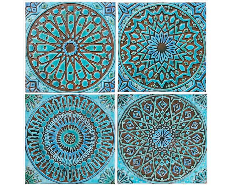 4 Moroccan wall hangings // Ceramic tiles // Wall decor // Wall art // Moroccan // 30cm // Turquoise by GVEGA on Etsy https://www.etsy.com/listing/221593834/4-moroccan-wall-hangings-ceramic-tiles