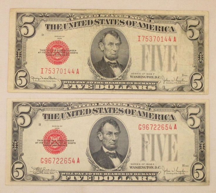 Vintage 1928 Five Dollar Bills $5 Red Seal United States Notes - Series 1928 E F