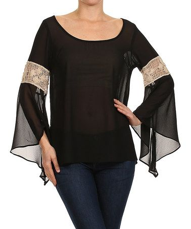 Look at this #zulilyfind! Black Crochet-Panel Bell-Sleeve Top - Women by Karen T. Design #zulilyfinds
