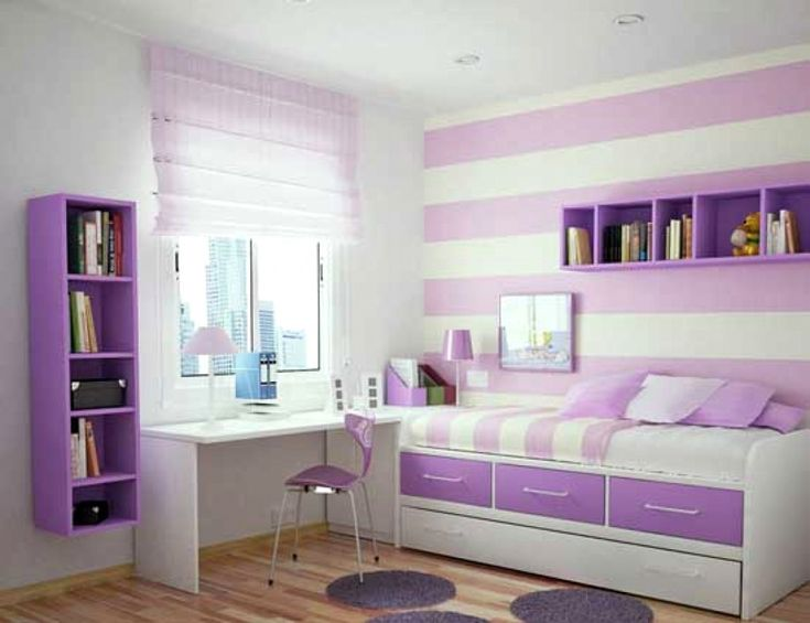 Excellent Purple Girls Room Design With White Learn Table And Storage Bunk Bed And Wooden Floor And Round Purple Mat Also Purple Chair And Bookcase With Wall Striped White And Purple