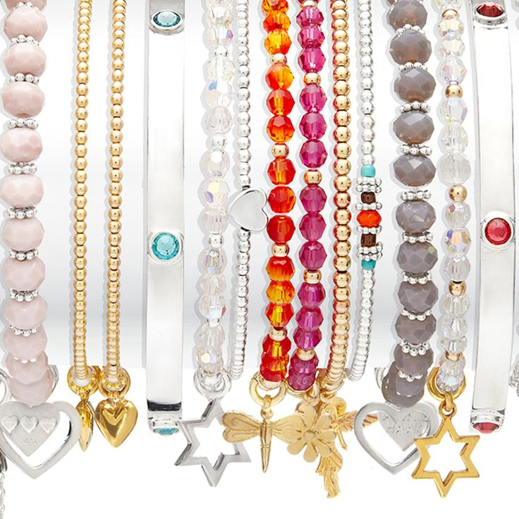 All stacked up with stunning 925 sterling silver, gorgeous gold and striking Swarovski Crystals