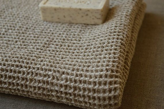 Heavy LINEN Waffle Bath Towel Natural Linen Towel by ROSALinen